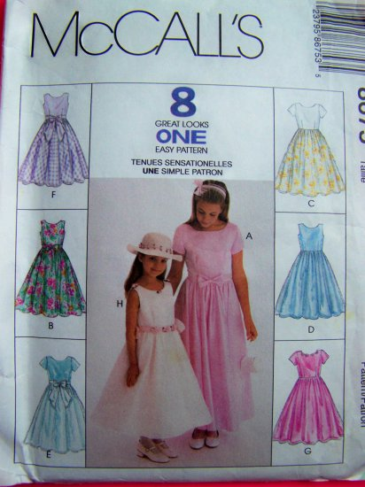 Girls Dress 7 8 10 Sundress Full Flared Skirt Party Dresses NEW Sewing Pattern 8675