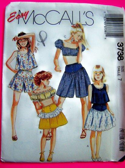 80's Girls Peasant Tent Top Shirt Ruffled Yoke Waist Skirt Culotte Sz 7 Vintage Sewing Pattern 3738