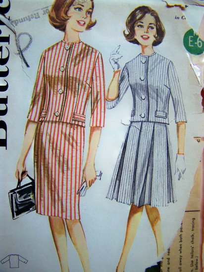 Vintage Sewing Pattern Slim or Box Pleated Skirt B 34 Collarless Jacket 2 Piece Dress Butterick 2258