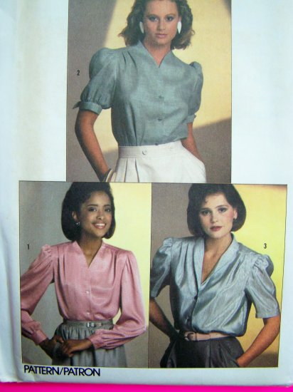 80s Vintage Sewing Pattern Shirt Blouse Top Shoulder Pleats V Neck Puff Short Long Sleeve14 Set 6706