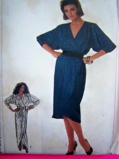 Tulip Hem Wrap Dress Short or Long Gown B 36 Dolman Vintage Sewing Pattern 7216