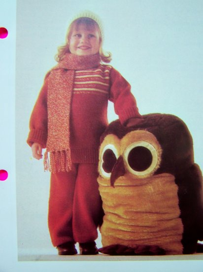 Childs PantsSuit Sweater & Pants Suit Cap Scarf Vintage Knitting Pattern