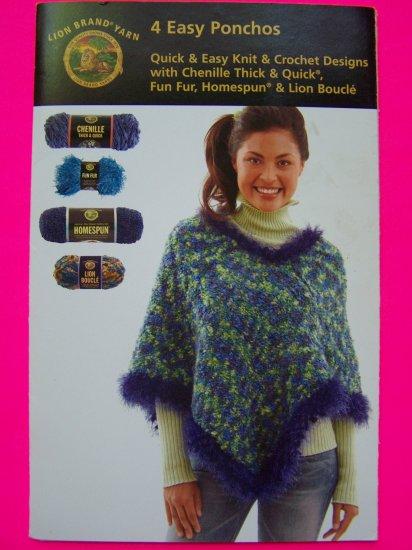 4 Easy Knit & Crochet Patterns Ponchos Child Misses Plus Size