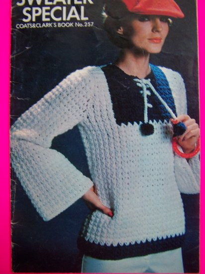 Vintage 70's Hippie Sweaters Crochet Knitting Pattern Book Sailor Aran Tunic Pullover