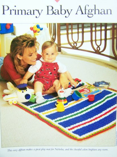 Crochet Pattern Primary Baby Afghan Blanket Vanna White Crocheting Patterns