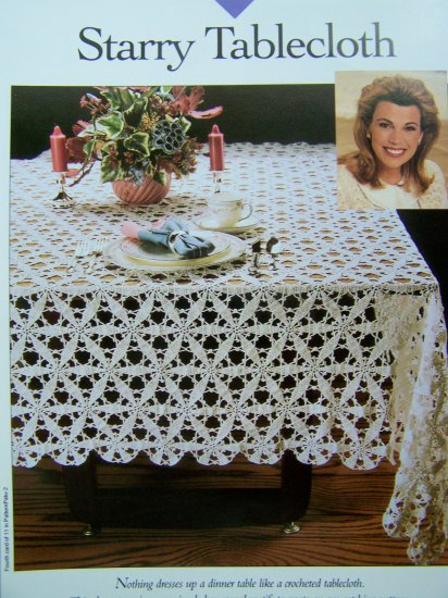 Thread Crochet Pattern Star Tablecloth 70 x 88 Starry Table Cloth Vanna's Patterns