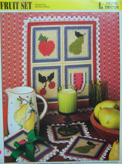 Annie's Attic Fruit Set Fruity Wall Hanging Coaster Set Kitchen Decor