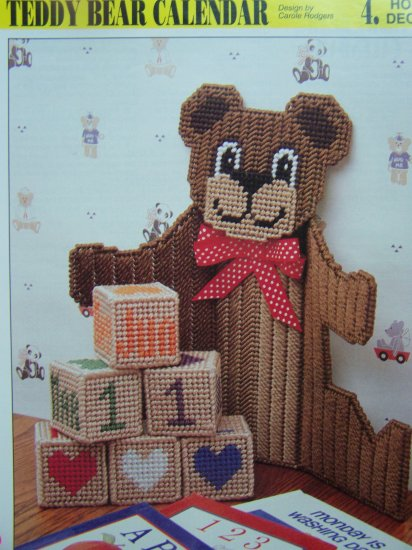 Teddy Bear Calendar and Blocks Set Plastic Canvas Pattern Annie's Attic Patterns