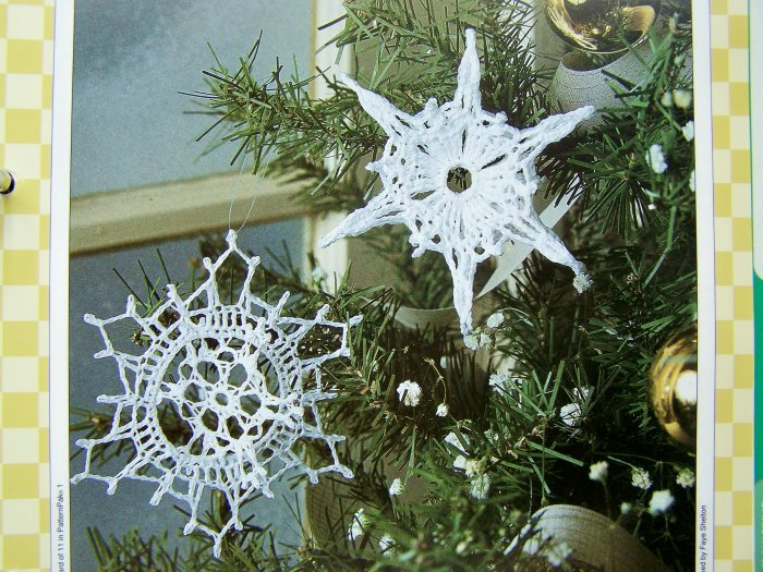 USA 1 Cent Shipping Crochet Pattern Snowflakes Christmas Tree Ornaments Patterns