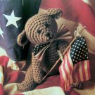 USA 1 Cent S&H Crochet Pattern Teddy Bear Americana July 4th Independence Day Moveable Arms Legs
