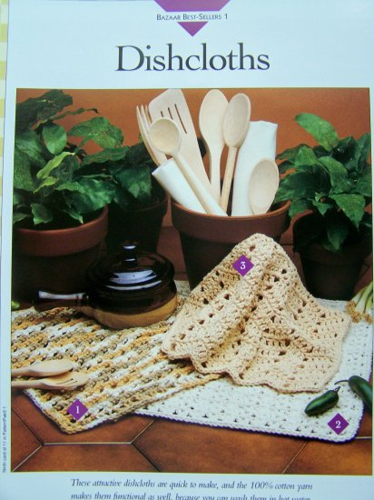 US 1 Cent S&H Crochet Pattern Cotton Dishcloths Washcloths 3 Styles Crocheted Dishcloth