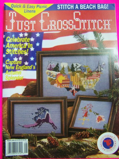 Just Cross Stitch Pattern Magazine July August 1992 Back Issue Magazine Patterns
