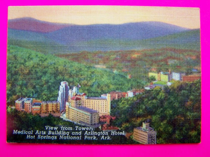 40s Vintage Postcard Picture Medical Arts Building and Arlington Hotel Hot Springs Arkansas