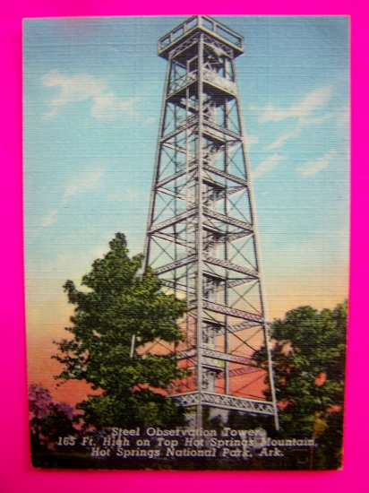 Vintage 40s Postcard Steel Observation Tower Mountain National Park Ark Arkansas FREE Ship USA