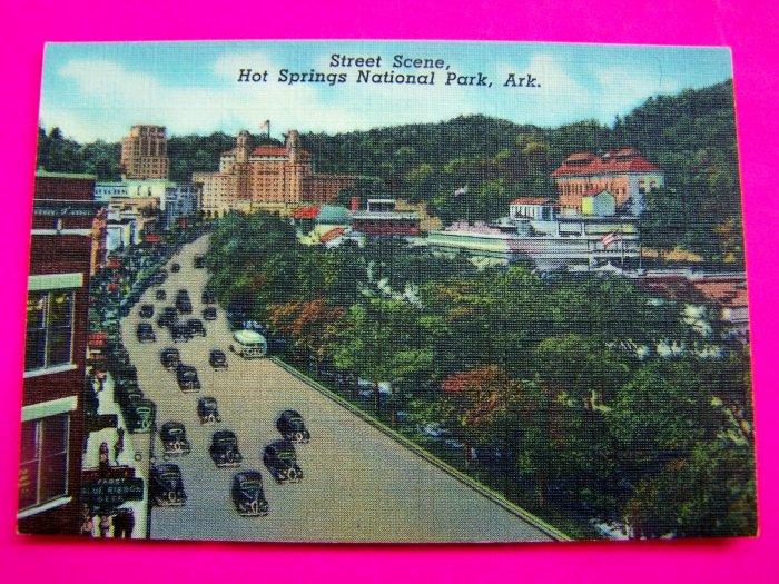 40s Postcard Street Scene Hot Springs National Park Arkansas Ark Picture Cars