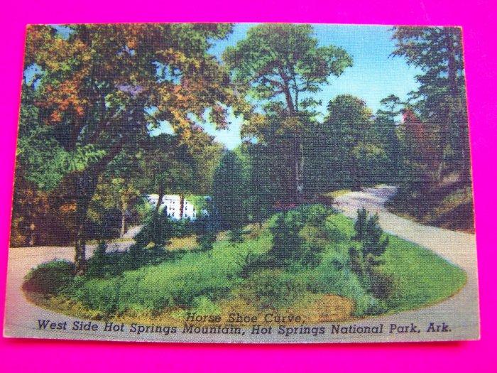 1940s Horse Shoe Curve West Side Hot Springs Mountain National Park Arkansas Postcard Landscape