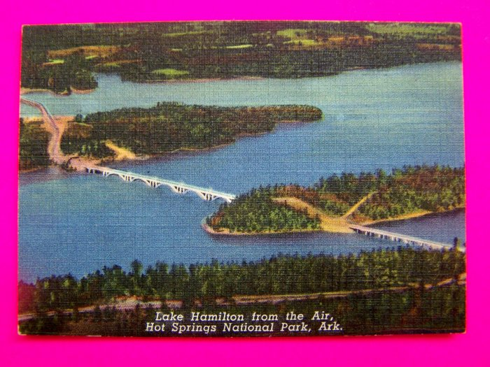 Lake Hamilton Scene Bridge From Airplane Hot Springs Arkansas Postcard Souvenirs Ark