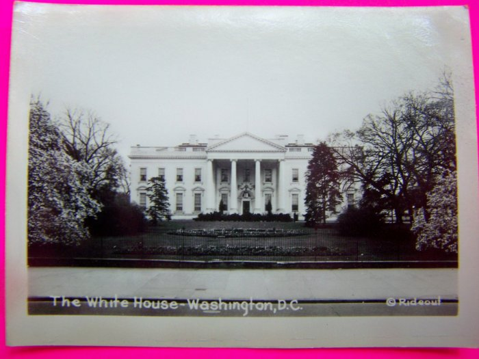 Vintage Black & White Velox Photo The White House Washington DC Rideout Picture