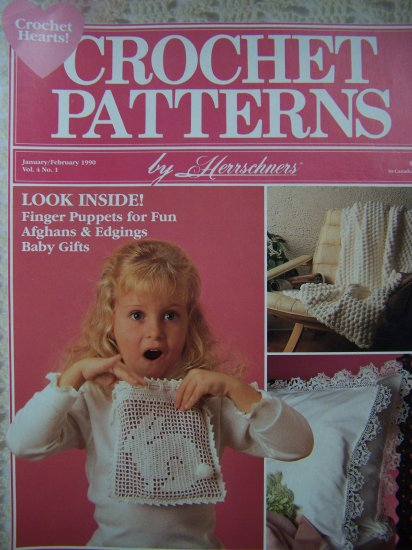 Crochet Patterns Herrschners Back Issue Magazine Pattern Book 1990s Pineapple Afghan Hearts
