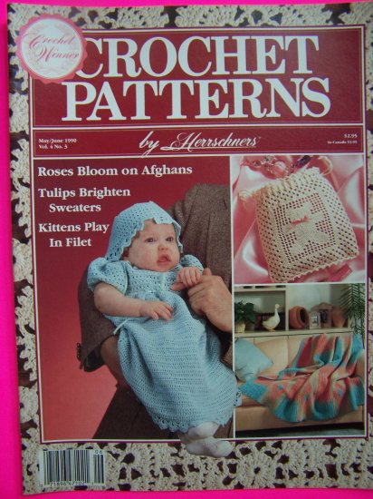 Herrschners Crochet Patterns Magazine Rose Afghan Navajo Teddy Baby Dress Bonnet