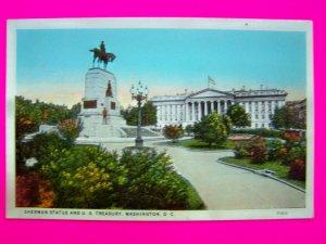 Vintage Postcard Sherman Statue and US Treasury Washington DC