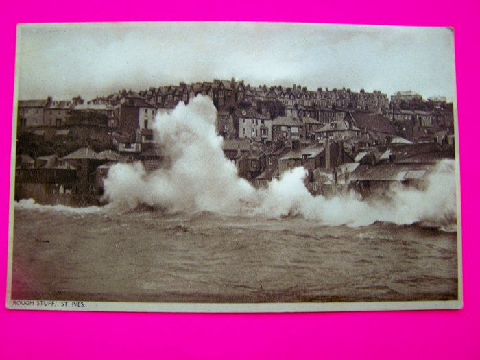 Vintage Postcard St Ives Seascape Ocean View Landscape UK Fishing Port Town Village