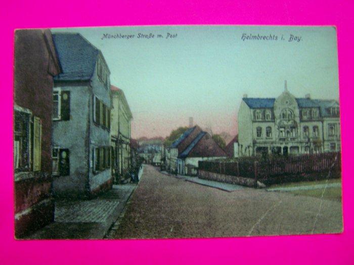 Vintage Postcard Munchberger StraBe m Post Helmbrechts i Bay