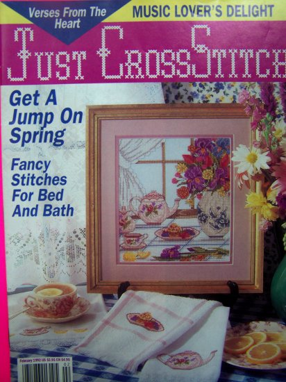 Just Cross Stitch Pattern Magazine Teapot Sampler Patterns Jan Feb 1992