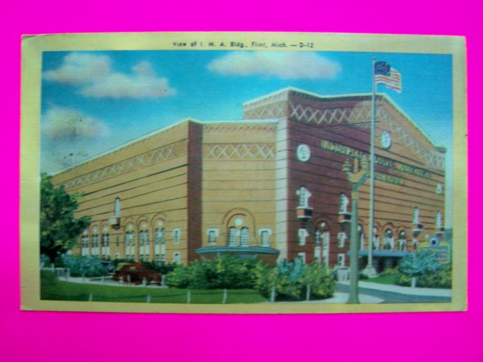 40s Vintage Linen Postcard I M A Building FLint Michigan 1947 Colorcraft