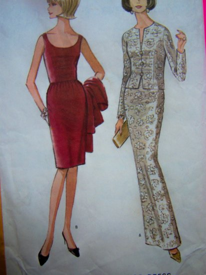 1960s Vintage Sewing Pattern Evening Gown Cocktail Dress Long Short 8012