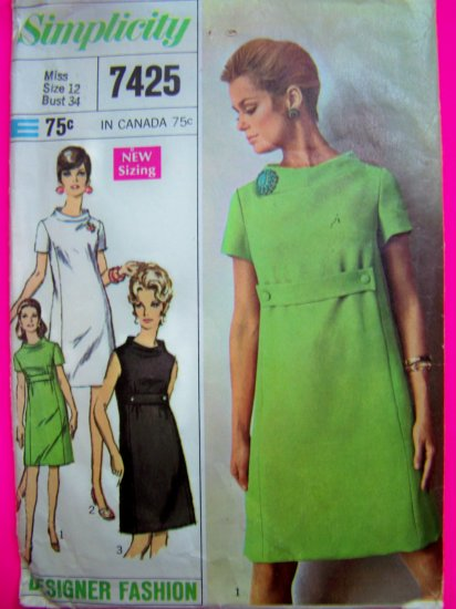 1960s Vintage Sewing Pattern Misses 12 Empire Waist Half Belt Designer 7425