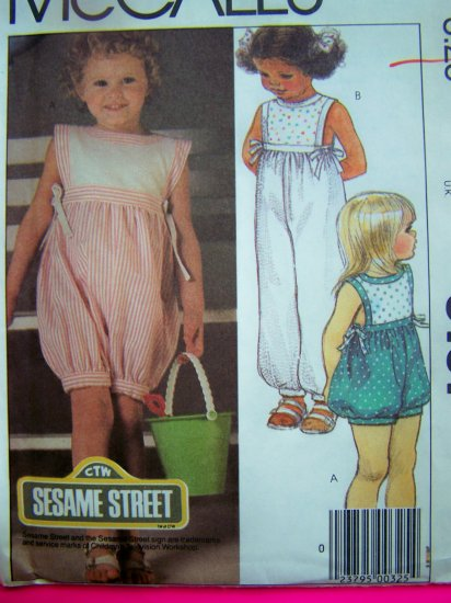 1980s Toddler Girls Romper Onesie Jumper Sesame Street Vintage Sewing Pattern 9101