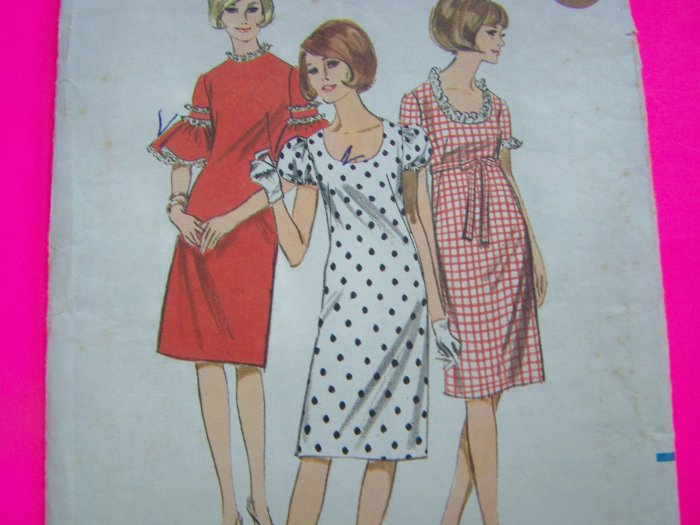 60s Vintage Sewing Pattern Mod Dress A Line Puff Ruffle Sleeve 3912