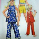 70's Girls Hippie Open Back Tent Shirt Sunsuit Shorts Pants Vintage Sewing Pattern 8818