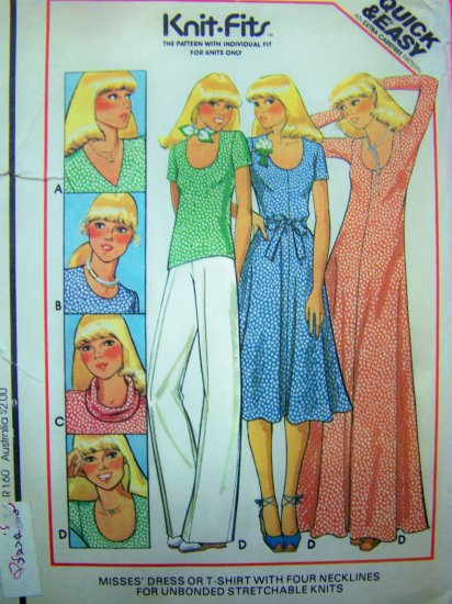 Vintage 70s Dress or T Shirts For Unbonded Stretchable Knit Fabric Sewing Pattern