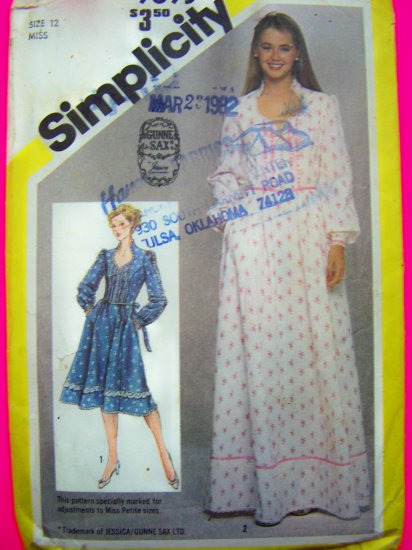 1980s Vintage Gunne Sax Dress Sz 12 Sewing Pattern Prairie Hippie Boho 9893 Uncut