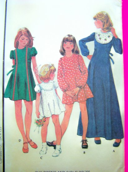 70s Girls Dress Vintage Sewing Pattern Babydoll Tie Back Short or Long Maxi Length