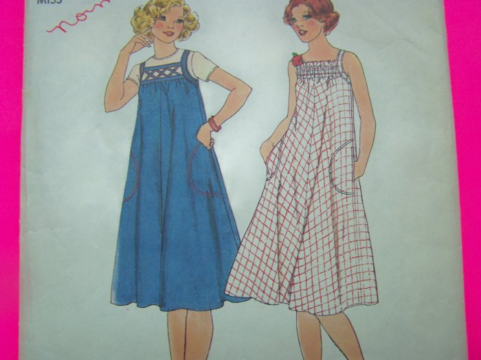 70s Vintage Sewing Pattern Sun Dress Sundress Lattice or Gathered bodice 7962
