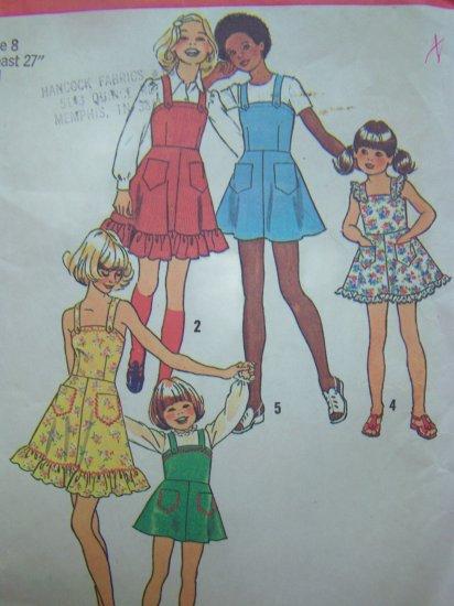 Vintage Sewing Pattern Girls Sundress Jumper Sun Dress Ruffle Hem Patch Pockets 6996