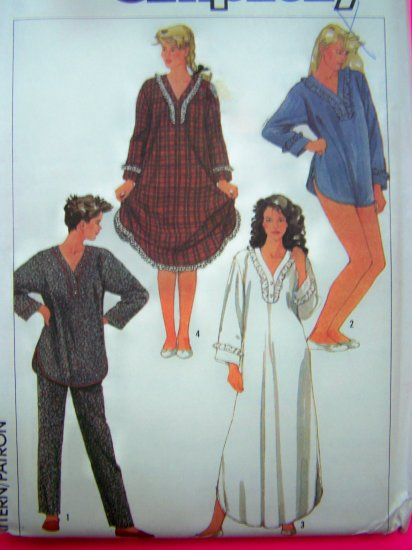 Vintage Winter Pajamas Nightgown Misses XL Pjs Sewing Pattern 7184