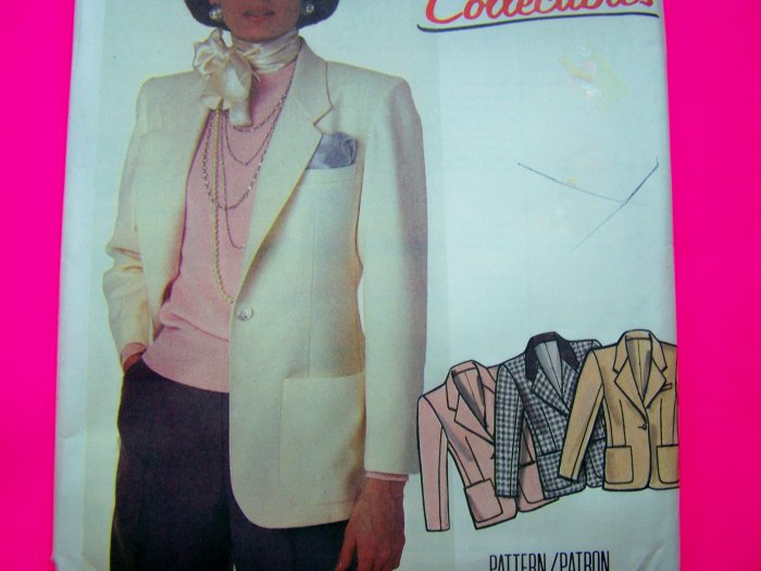Uncut Vintage Sewing Pattern Suit Jacket Blazer Plus Size 20 Bust 42 McCalls 2088