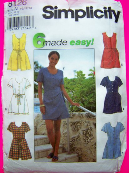 6 Easy to Sew Misses Romper Shorts Onesie Sewing Pattern 10 12 14 SImplicity 8126