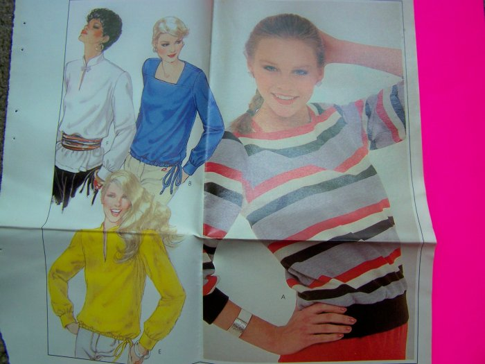 70s Plus Size 22 24 Pullover Shirts Hem Collar Variations Long Sleeve Vintage Sewing Pattern 7174