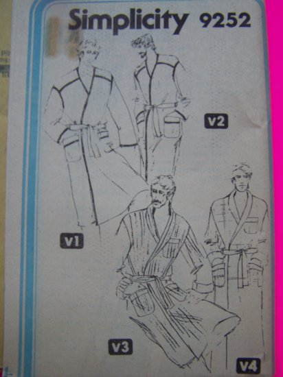 70s Mens Wrap Robe Tie Front Two Styles Sz 44 Vintage Sewing Pattern 9252