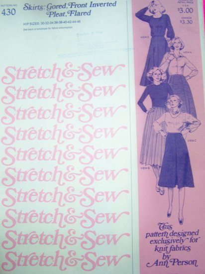 1970s Misses Skirts Gored Front Inverted Pleats Flared Vintage Sewing Pattern 430