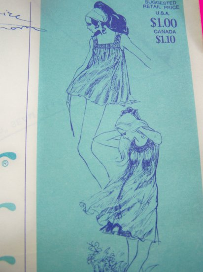 60s 70s Vintage Lingerie Yoked Babydoll Nightgowns Pjs Gowns Sewing Pattern 2085