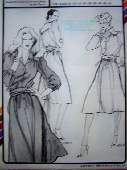 1980s Vintage Sewing Pattern Yoked Shirtwaist Dress Shirt Waist XS S M L XL 1588