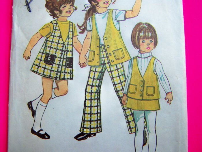 1970s Vintage Sewing Pattern Girls 4 Jumper Dress Vest Skirt Bell Bottom Pants 9476