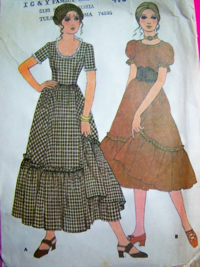 70s Vintage Sewing Pattern Square Dance Peasant Dress Puff Sleeve Cincher Belt 2786