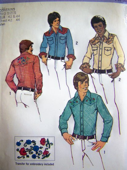 1970s Mens Vintage Sewing Pattern Western Cowboy Shirt Horse Transfers from 1949